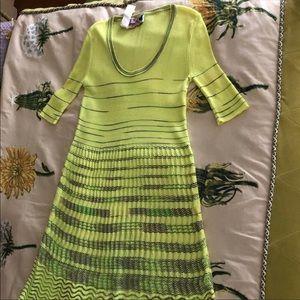 Missoni scoop neck neon yellow dress